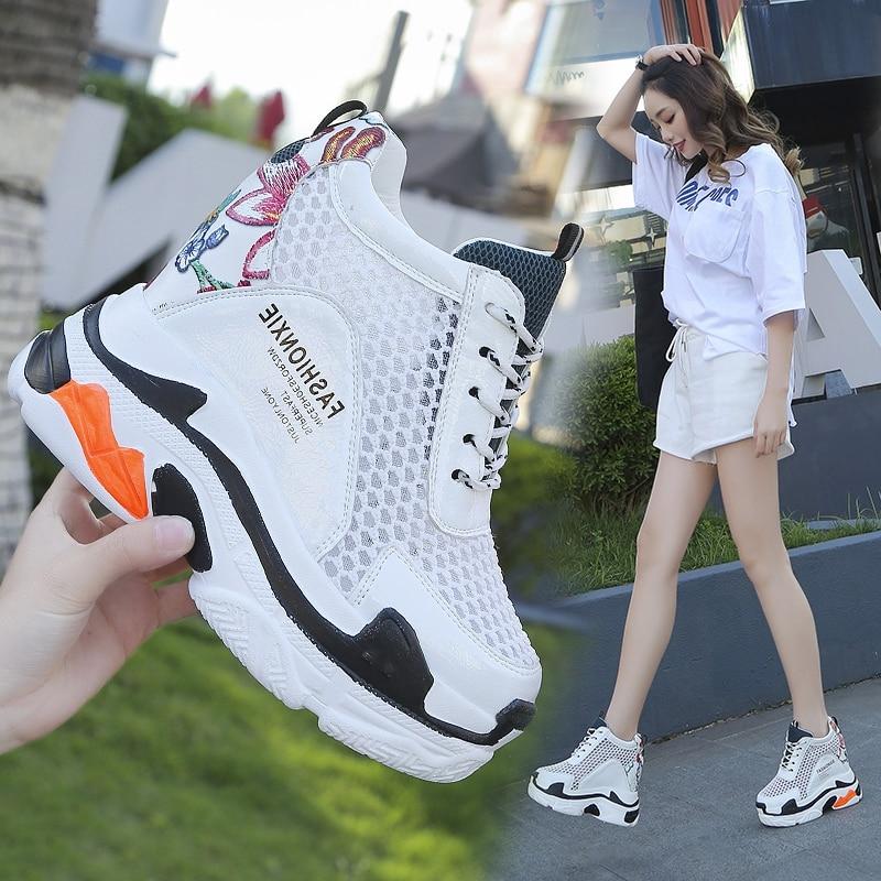 2019 Summer Breathable Mesh Sneakers Hidden Increasing Shoes Women Wedge Casual Shoes Slip on High Heels 11 Cm Platform Shoes