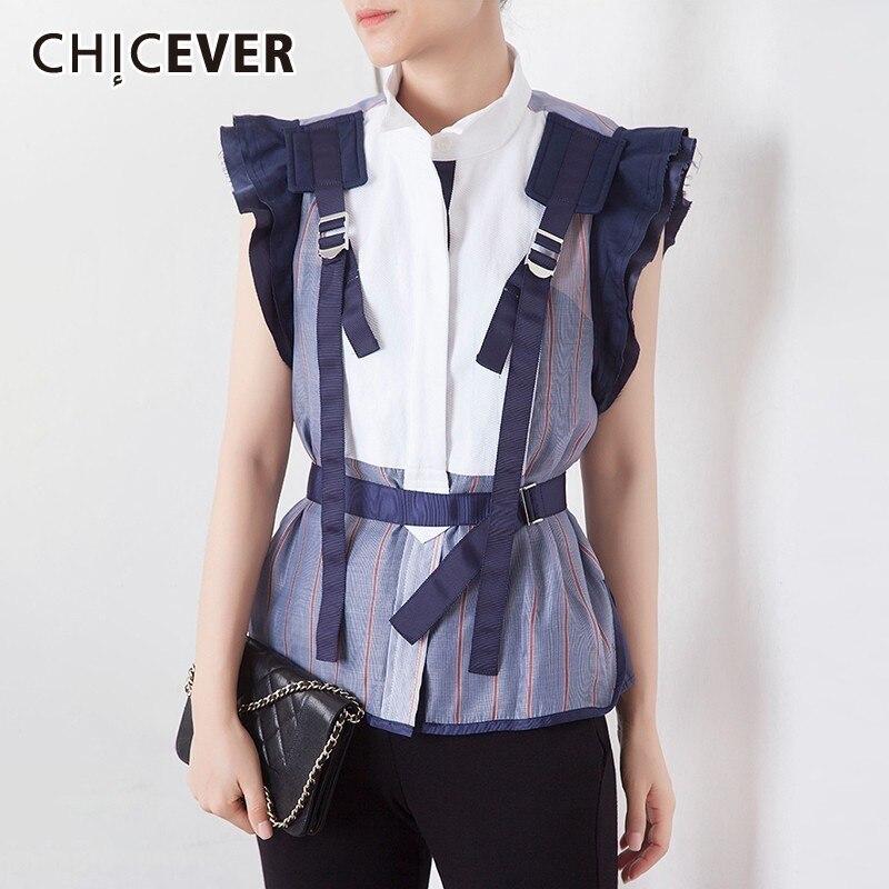 CHICEVER verano Casual perspectiva rayas Mujer blusa Stand Collar mariposa manga Patchwork fajas Slim camisa femenina corta