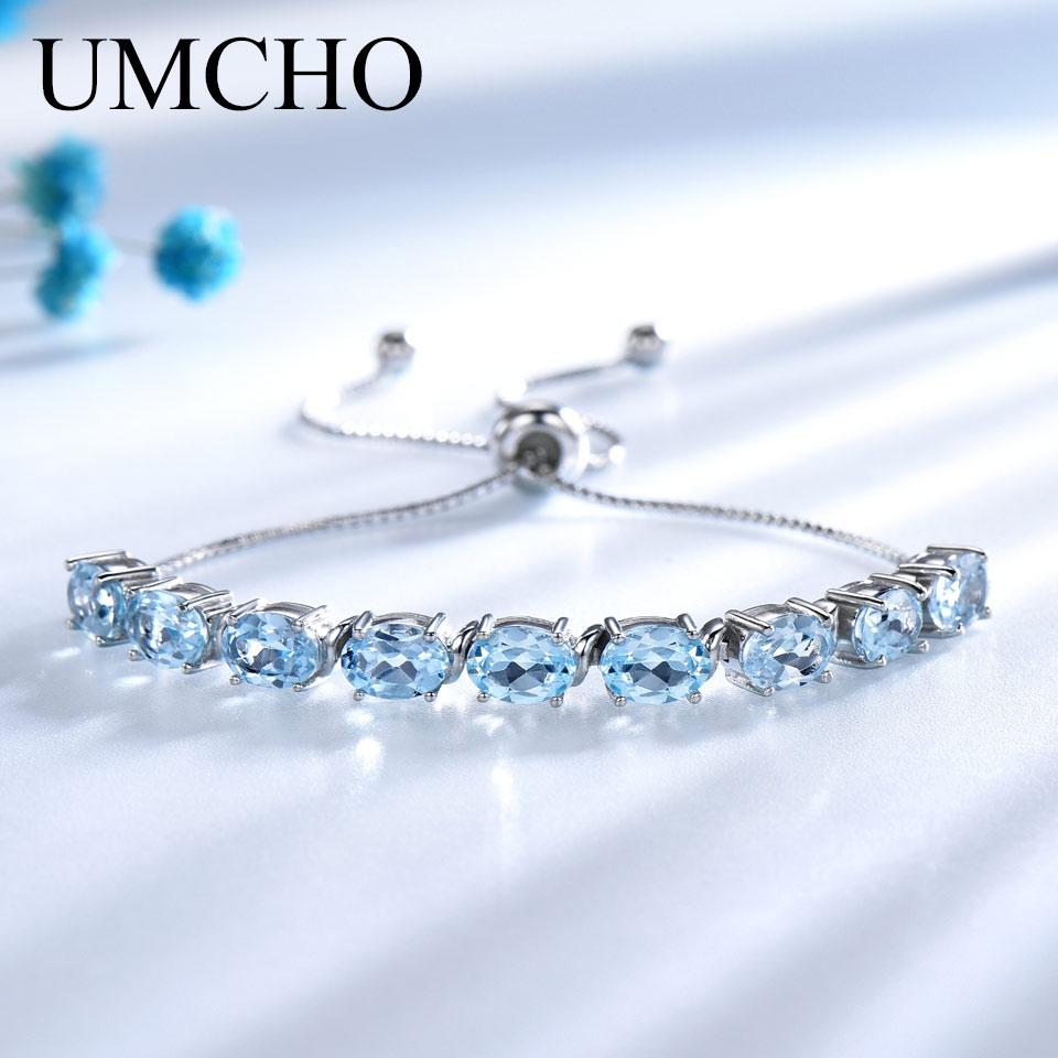 Pulseras y brazaletes de Topacio azul cielo Natural genuino UMCHO, pulsera de plata de ley 925 Real para mujeres, joyería fina de expansión gratis