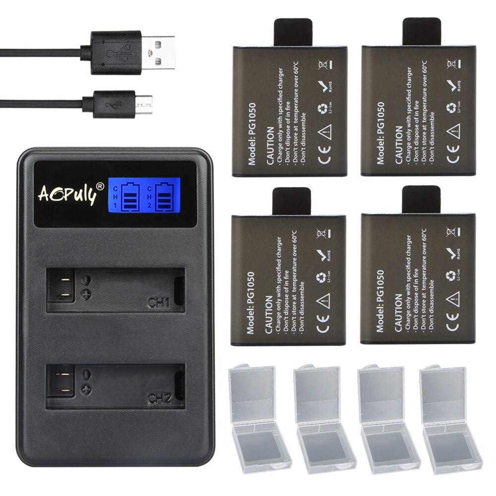 4 шт. 1050 мАч аккумуляторная батарея для камеры PG1050 + двойное зарядное устройство для спортивной экшн-камеры SJCAM, EKEN H9 H9R H3 H3R H8PRO H8R H8