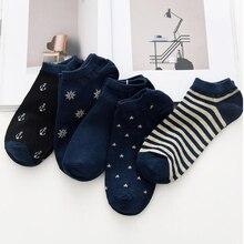 5 คู่ฤดูร้อน Stripe Star ผู้ชายถุงเท้าที่มองไม่เห็นถุงเท้าสั้นถุงเท้าข้อเท้า Navy Breathable ถุงเท้าตลก Men Soft ...