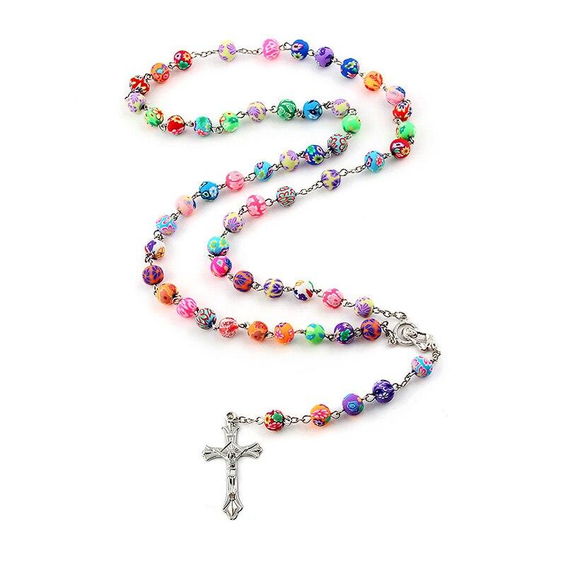 8 мм цветная Полимерная глина из бисера Розария цепочка с подвеской из сплава крест Девы Марии центровые христианские католические религиозные ювелирные изделия