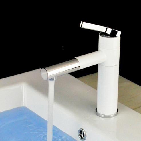 AZOS Bathroom Basin Tap Brass White Color Single Hole Deck Mount Hot Cold Mixer Toilet Sink Faucet Furniture MPDKZ074
