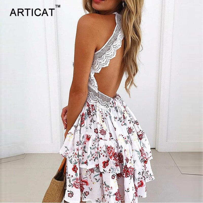 Articat סקסי תחרה ללא משענת V צוואר קיץ שמלת נשים רצועת שרוולים חלול החוצה קצר שמלת מסיבת החוף מקרית שמלות Vestidos