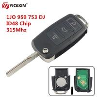 YIQIXIN 3 Buttons Flip Remote Car Key Fob For Volkswagen VW Golf 4 5 Passat B5 B6 Polo Touran 315Mhz ID48 Chip 1JO 959 753 DJ
