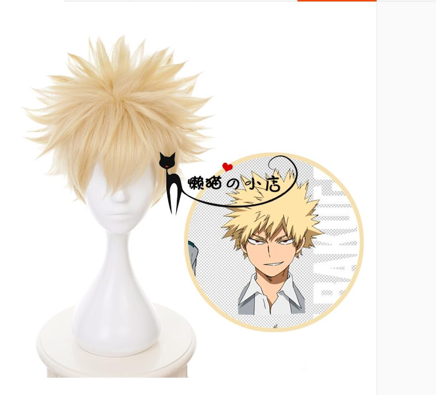 Anime My Hero Academia Baku No Hero Bakugou Katsuki Bakugo Linen Blonde Heat Resistant Short Wig Cosplay