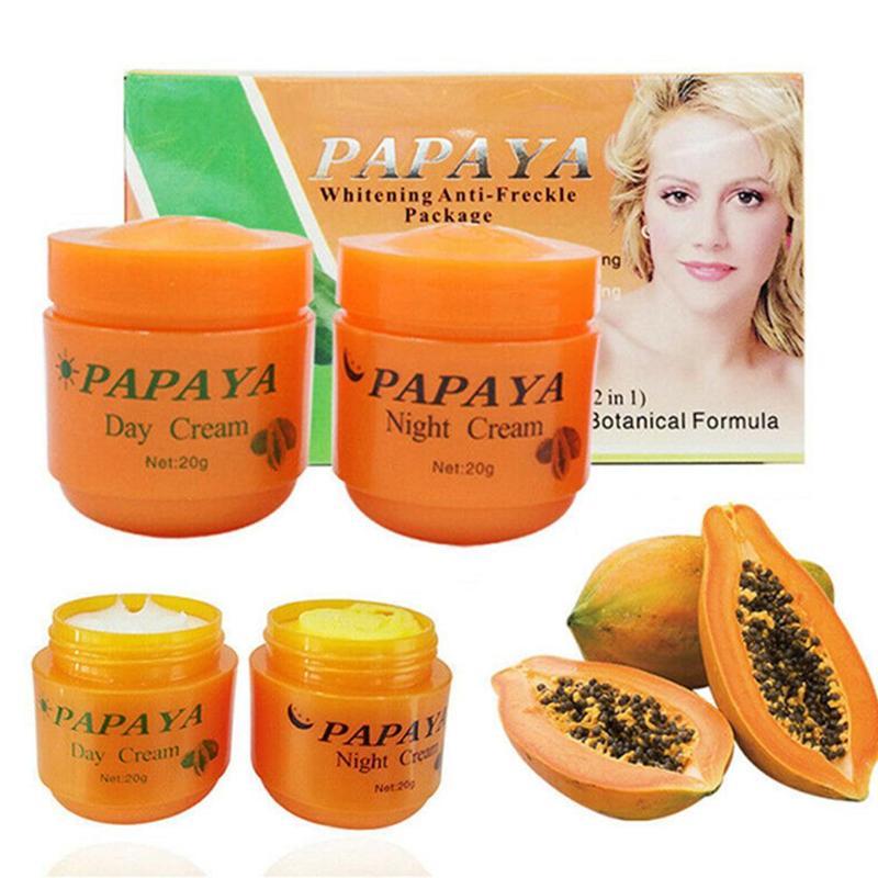 2 unids/lote crema blanqueadora de Papaya Vitamina C CUIDADO DE LA PIEL CREMA antipecas para la cara