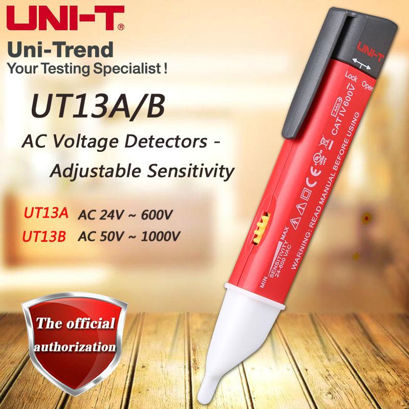 UNI-T UT13A UT13B AC voltage detector sensitivity adjustable / buzzer / flash / vibration / auto-sensing / low voltage display