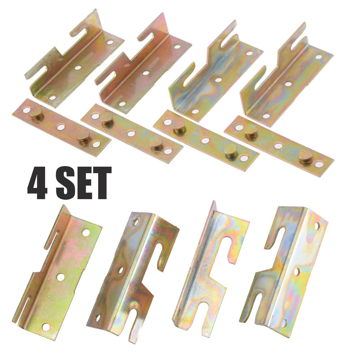 4 Set latón conexión esquina de la cama tono muebles de cama de madera de gancho de riel de soporte de conectores rápidos
