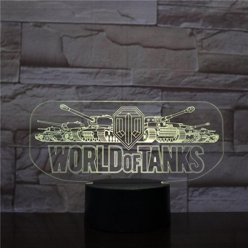 Lámpara de mesa dormitorio juego mundo de tanques Sensor táctil luces decorativas niños Festival regalo mundo de tanques luz nocturna LED