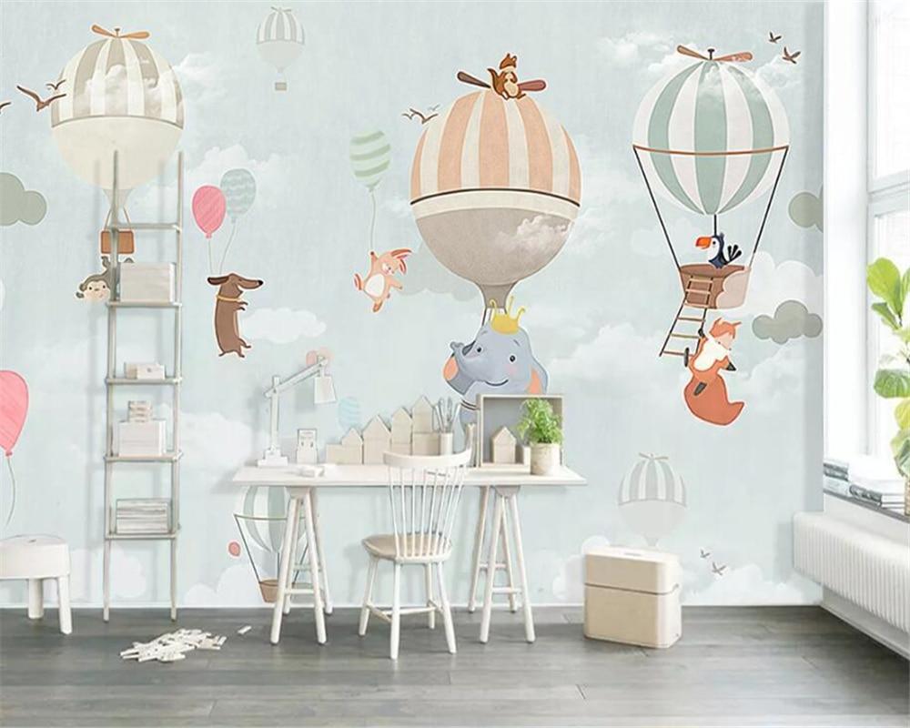 Papel pintado personalizado Beibehang, globo de aire caliente de animales de dibujos animados, tema panorama, Fondo de sala para niños, papel de pared, papel de pared
