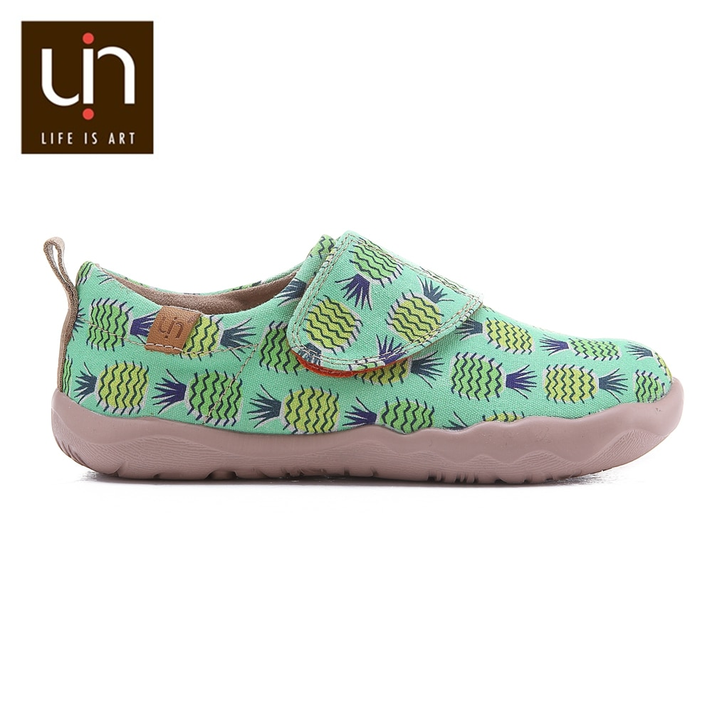 UIN Pineapple Tree Design Casual Shoes for Little Boys/Girls Hook & Loop Soft Canvas Flats Toddlers Outdoor Kids Shoes enlarge