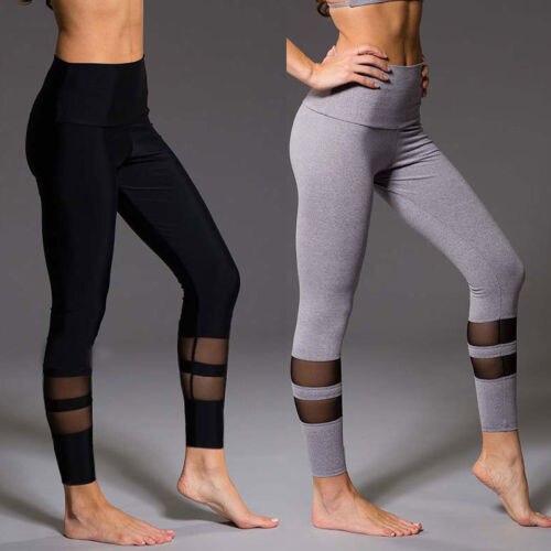 Women Yoga Fitness Leggings Running Gym Stretch Sports High Waist Pants Grenadine Striped Mesh Patchwork Yoga Pants