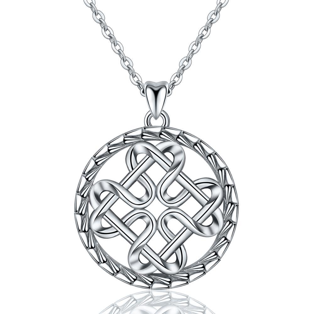 EUDORA 925 Sterling Silver Celtics Knot Design Pendant Necklace Charm 18inch Silver Chian for Women Fashion Fine Jewelry CYD121