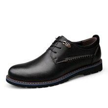 Zapatos de estilo británico de cuero genuino para hombres, zapatos casuales de negocios clásicos, zapatos de moda hechos a mano, zapatos planos Oxfords 2019 nuevo