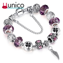 UUNICO Antique Silver Charm Bangles Lucky Clover Crystal Ball Women Bacelet  Valentine's Day Gift Th