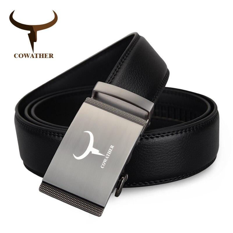 COWATHER дизайн Моды корова натуральная кожа ремни для мужчин ремень автоматическая пряжка ремня пояс ceinture homme бесплатная доставка