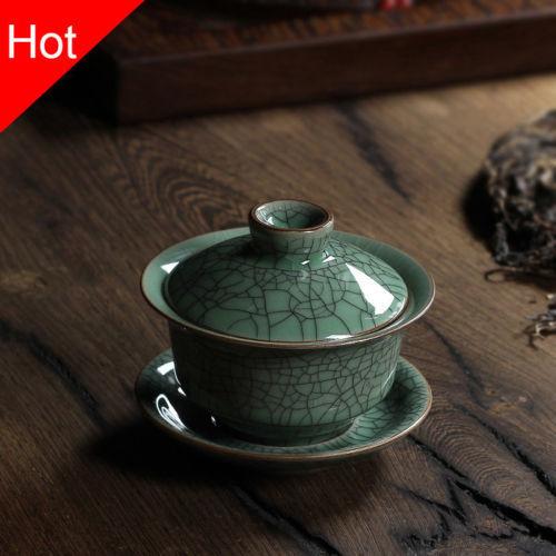 Longquan Celadon Porcelain Gaiwan China Teacups Crackle Glaze Teapot Drinkware 150ml