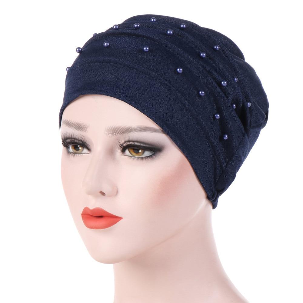 Chapéu feminino turbante elástico chapéu muçulmano jérsei islâmico contas câncer quimio boné senhoras estiramento cabeça envoltório cachecol 4.11