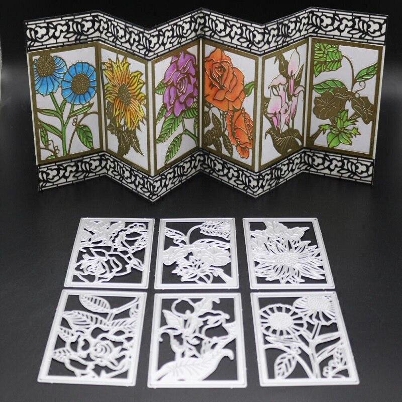 Nuevos troqueles de corte de metal Glita Creative flower Marco rectangular para álbum de recortes DIY albulm foto sellos decorativos y troqueles de corte