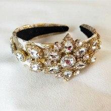 Fait à la main de luxe reine couronne Baroque mariage cristal grande fleur couronne et tiare coiffes mariée cheveux accessoires