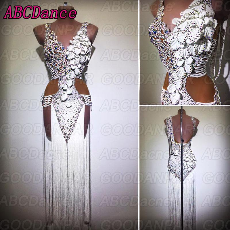 Vestido blanco para baile latino, Sexy, con flecos largos, para salón de baile y salsa