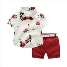 Costume à manches courtes pour petits garçons   Flambant neuf avec nœud papillon, hauts + Shorts rouges, ensemble dété pour enfants 1-7T
