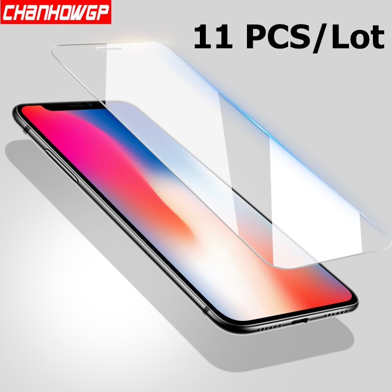 11 teile/los Gehärtetem Glas Für iphone X XS MAX 6 6 s 7 8 Plus 5 5 s SE 5C 4 S 4 Screen Protector Film Glas Auf iphone 7 iphone 8 Abdeckung