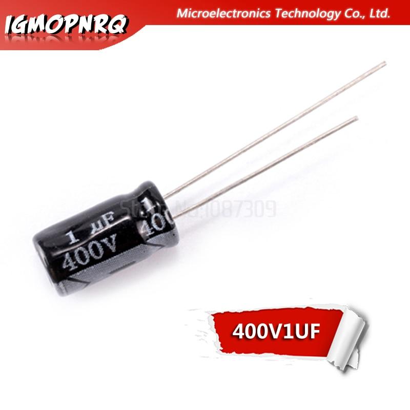 50 piezas 400V1UF 6*6*11mm 1UF 400V 6x11mm condensadores electrolíticos de aluminio DIP