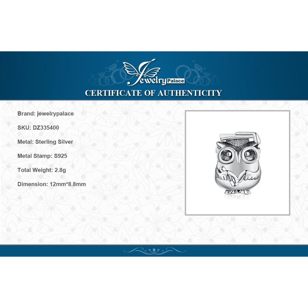 Купить с кэшбэком JewelryPalace 925 Sterling Silver Wise Owl Beads Charms Silver 925 Original Fit Bracelet Silver 925 original For Jewelry Making