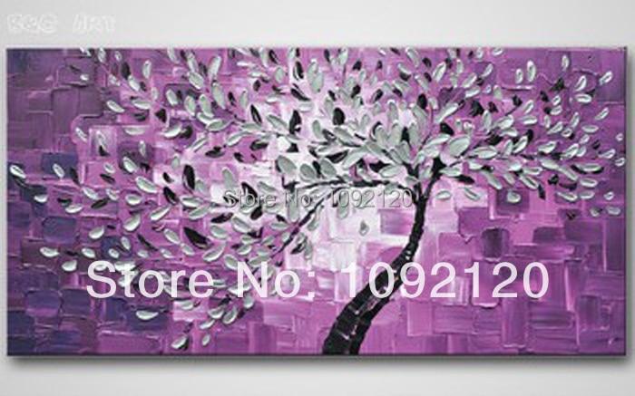 Arte Abstracto árbol pintura al óleo sobre lienzo. Cuadro de pared pintado a mano de alta calidad para decoración del hogar. Cuchillo caliente pinturas