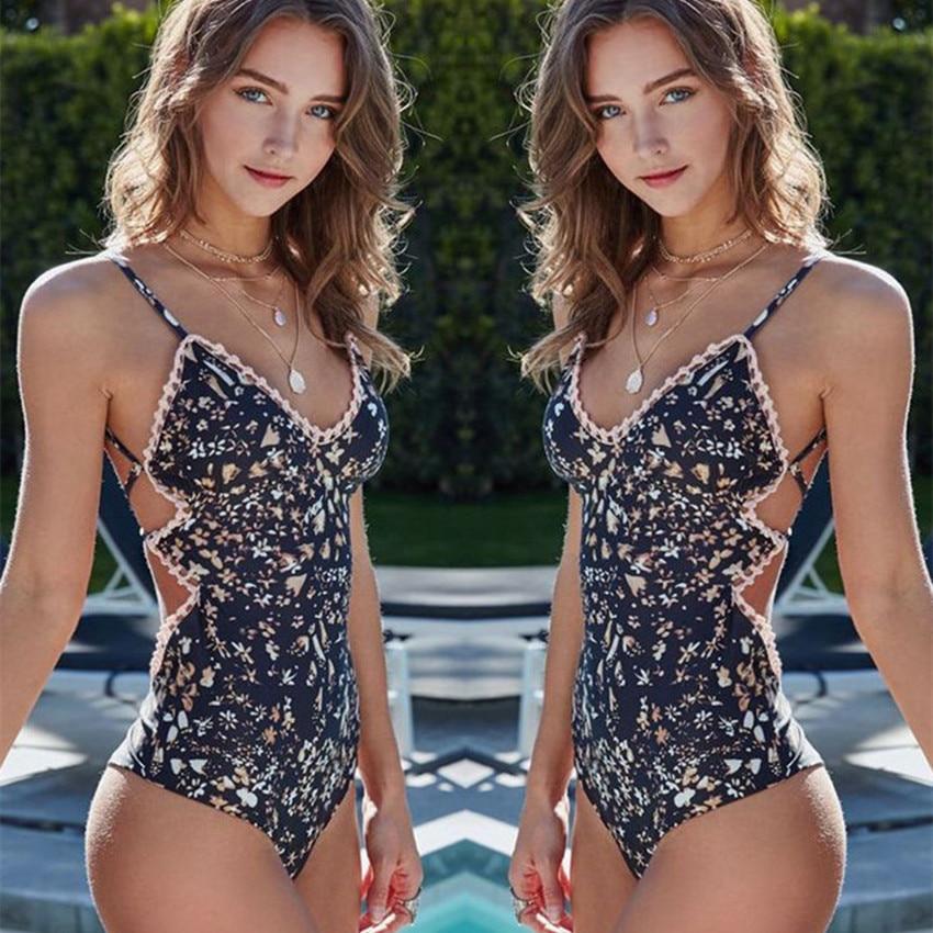 Cute One Piece Swimsuit 2017 Lady High Cut V-Neck Bathing Suit Padded Push-up Sexy Backless Swimwear Monokini