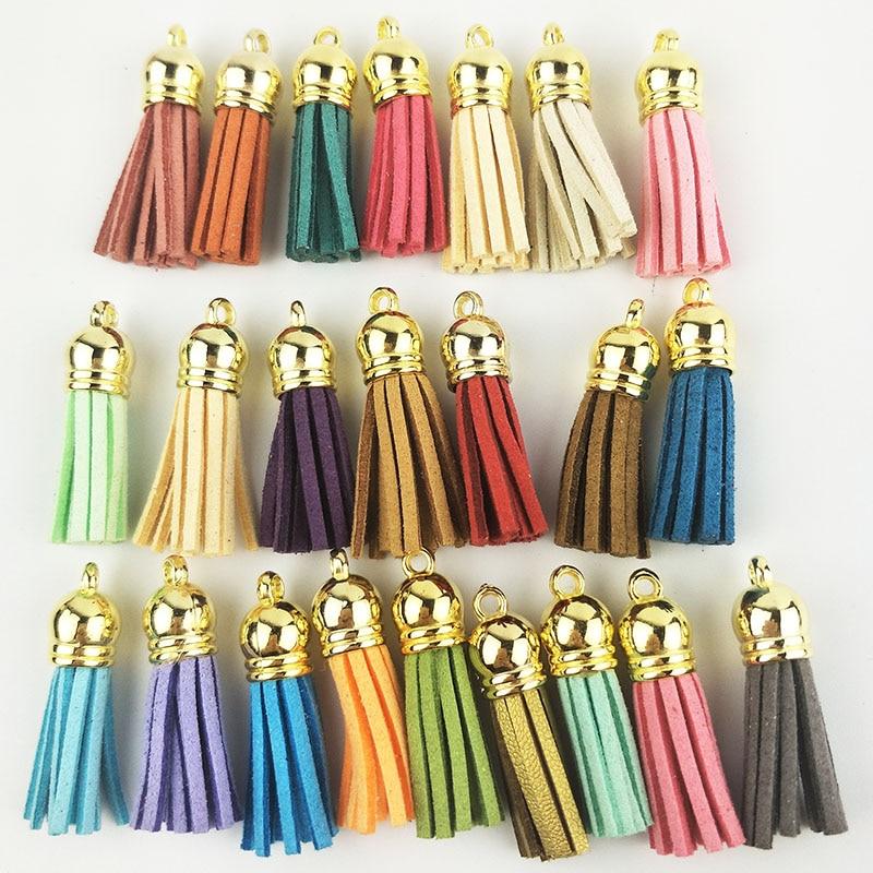 60pcs 38mm Leather Tassel For Keychain Cellphone Straps Jewelry Fiber Fringe Suede Tassel DIY Pendant Summer Jewelry Findings
