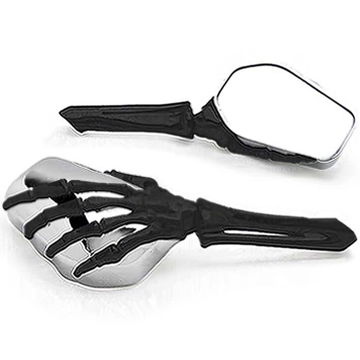 Frete Grátis Preto/Chrome Esqueleto Mão Espelhos Da Motocicleta Para A Vitória Vegas 8-Ball Jackpot Ness Premium