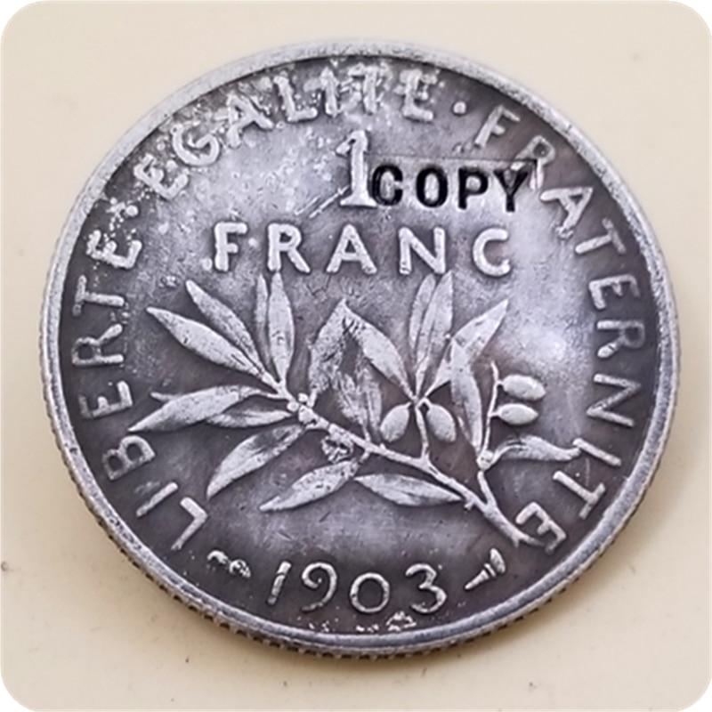 1903,1906 Francia 1 Franc copia monedas conmemorativas-monedas réplica medalla colección de monedas insignia