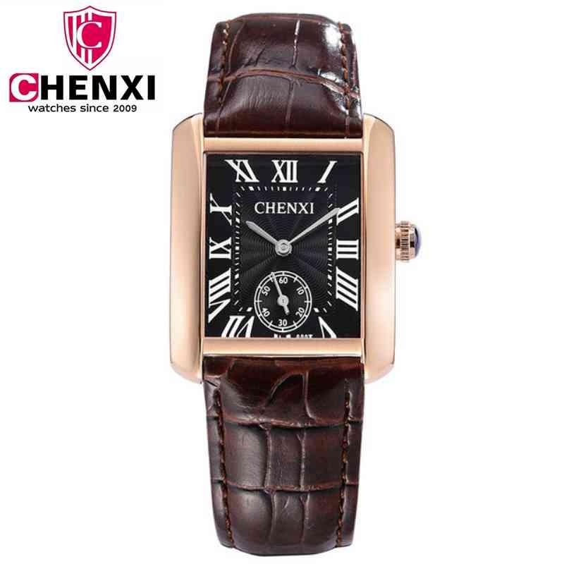 CHENXI de las mujeres de la moda casual de marca reloj de cuarzo cuadrado dorado pequeño Dial trabajo relojes para hombres con calidad correa de cuero PENGNATATE