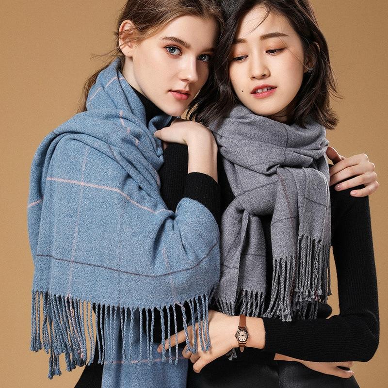 2019 Autumn Winter Female Wool Plaid Scarf Women Cashmere Scarves Wide Lattices Long Shawl Wrap Blanket Warm Tippet Drop Ship