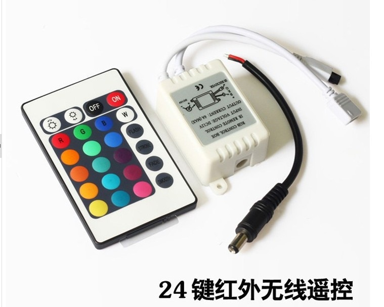 500x DHL/FEDEX 12V 24 teclas IR control remoto f 3528 5050 RGB LED tiras de luz SMD brillo tres canales 2A/Canal + caja