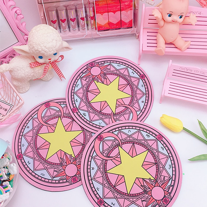 Коврик для мыши Magic Card Captor, прозрачный коврик для мыши Sakura Kinomoto Star Wand, круглый ковер, коврик для косплея