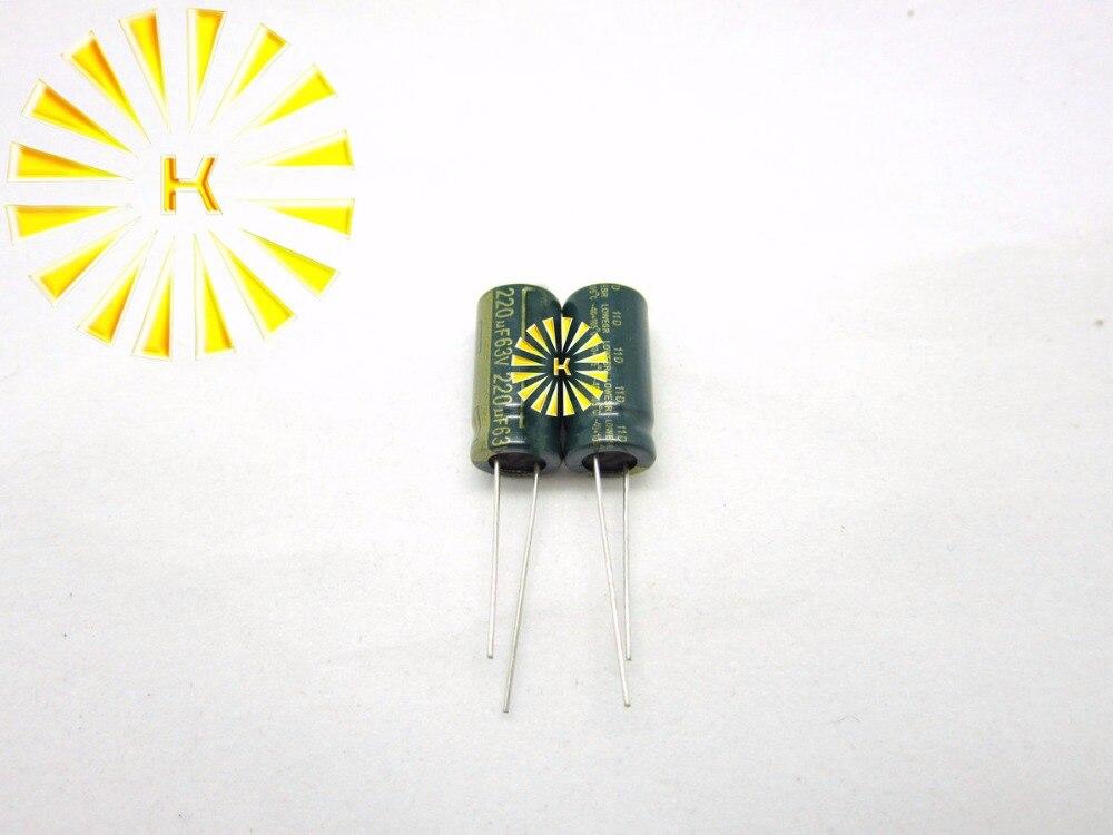 200 pcs X 100% Novo 220 uf 63 v 10X20 LOW ESR Capacitor Eletrolítico de Alumínio Conector