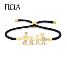 FLOLA Familie Schwarz Seil Gold Armbänder Zirkon Papa Mama Junge Armband Kid Einstellbare Schwarz String Armband pulseiras famila brtb07