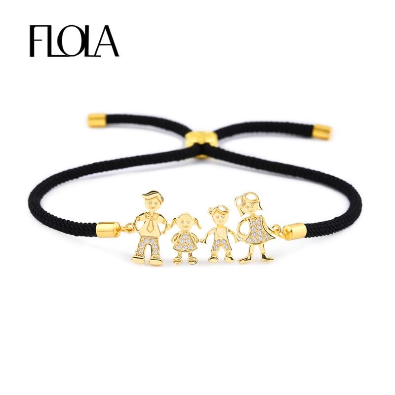 Женский браслет с черной веревкой FLOLA, золотистый браслет с цирконом для папы, мамы и мальчика, регулируемый черный браслет с завязками, brtb07