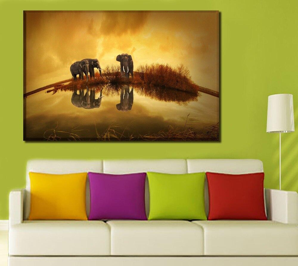 Lienzo pinturas arte de pared impresiones de alta definición hogar cuadro decorativo 1 pieza/4 Uds elefantes vida salvaje río Tailandia fotos póster de animales