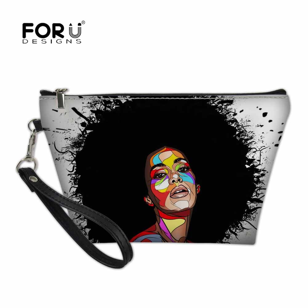 FORUDESIGNS bolso cosmético Afro para chicas, organizador de viaje para mujeres, neceser, Kits de aseo, bolsas de lavado con impresión 3D