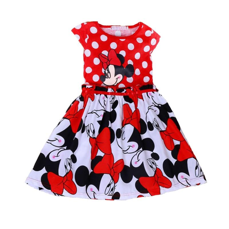 Girls Dresses 2018 Summer Cartoon Minnie Baby Tutu Dress Girl Red Dress Weeding Party Princess Costume Baby Children Clothing