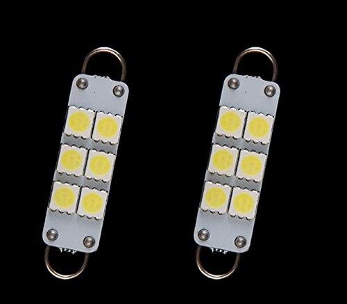 4 piezas 44mm 5050 6SMD bombillas LED blanco 12 V de doble anillo de arco de Automoción de bóveda del adorno Luz 6 Led de iluminación Interior