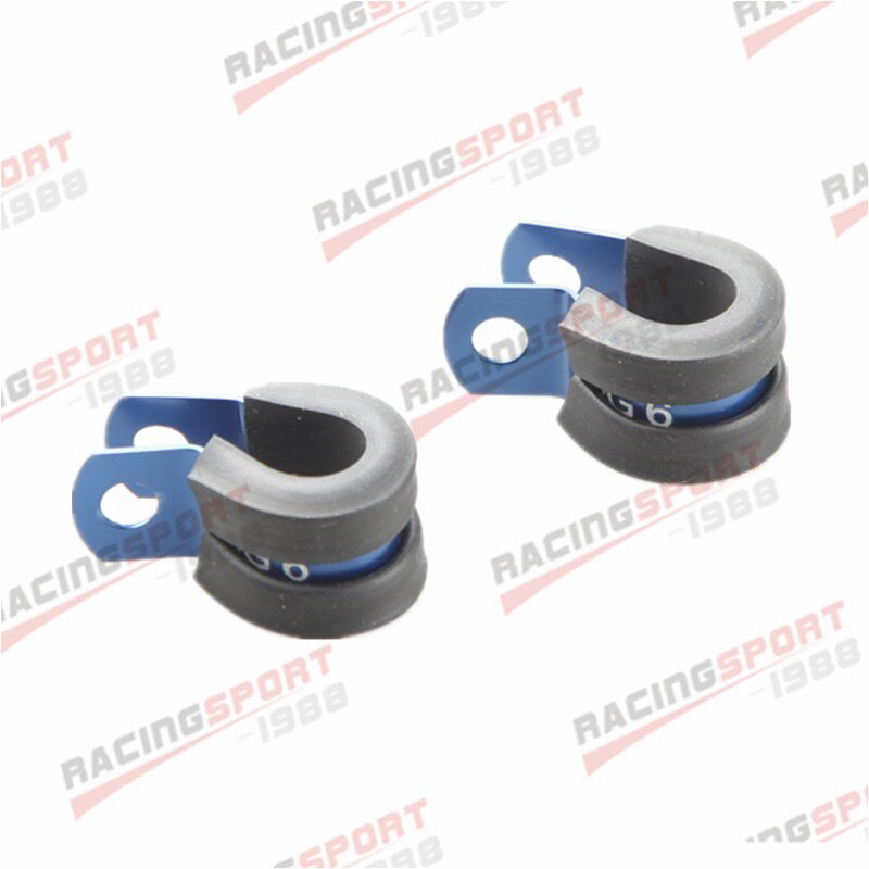 2PCS Aluminum Rubber Cushioned Clamp ID 6.4mm Racing Vacuum Hose Blue