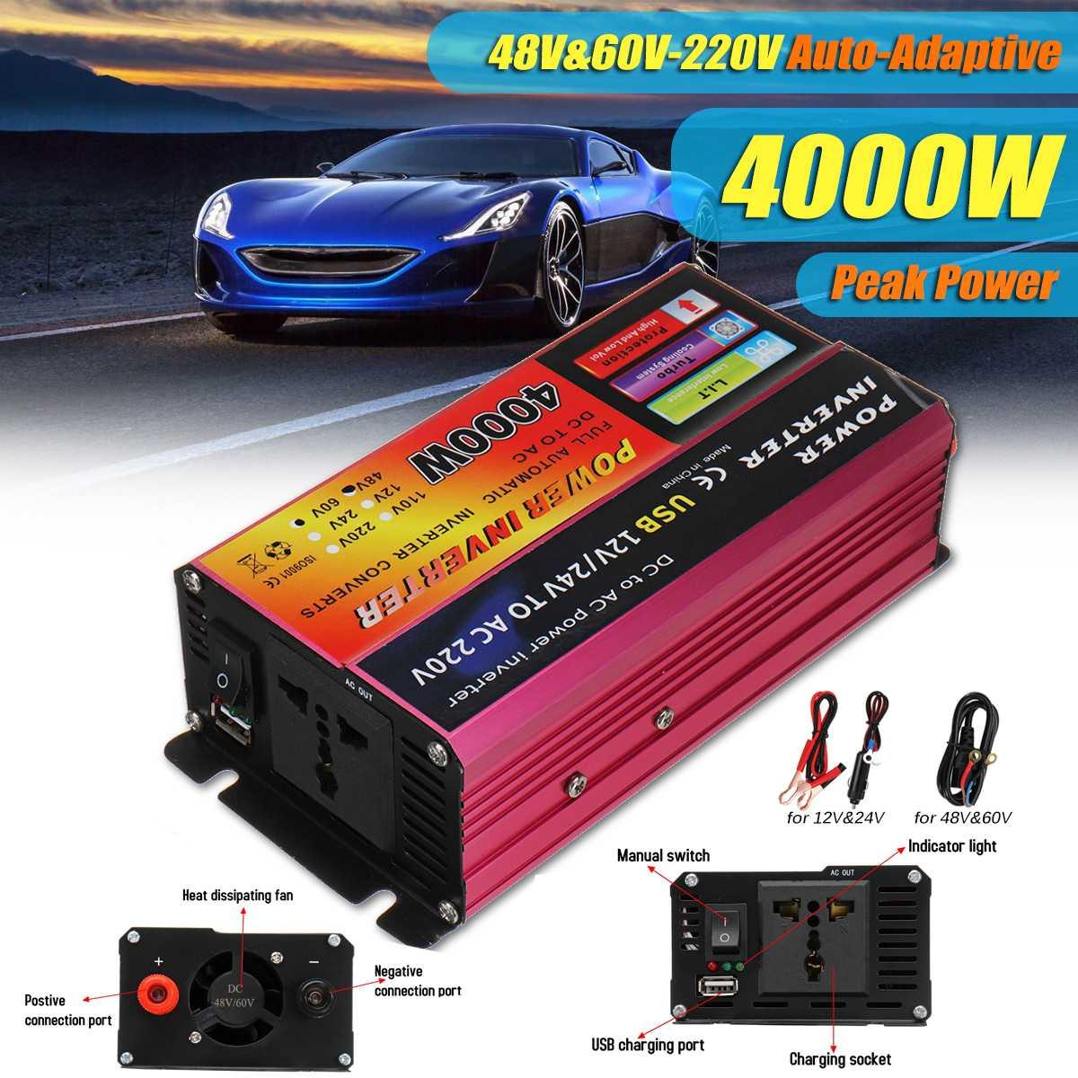 Inversor del coche de 4000W 12 V/24V a 220V Convertidor para Sistema Solar portátil camión recargable vehículos convertidor inversor