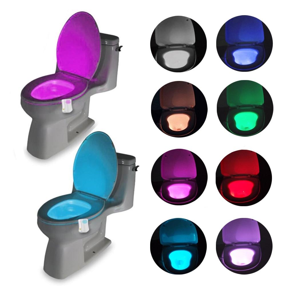 Smart Bathroom Toilet LED Nightlight PIR Body Motion Sensor Seat Light Waterproof Bowl LED Night lights 8 Colors WC Toilet Light