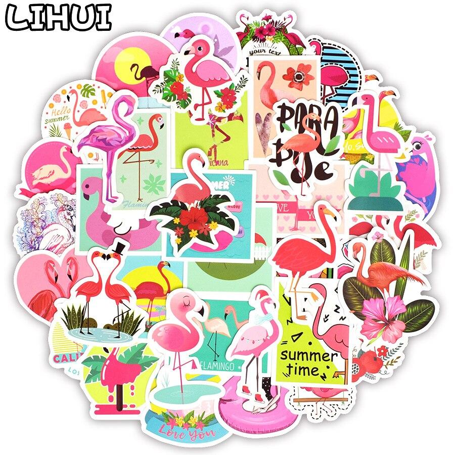 50 Uds Flamingos Sticker Lovely Dream Cartoon Girl Stickers para niños cuaderno DIY equipaje bicicleta nevera guitarra Laptop Stickers